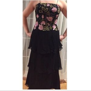 SCALA Silk Rose Floral Beaded Ruffle Black Gown L
